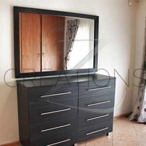 Veneer chest of drawers + mirror
